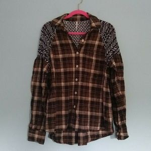 Free People Fireside Nights Plaid Flannel Shirt